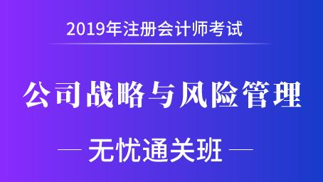 2019年注册会计师课程+题库-公司战略与风险管理